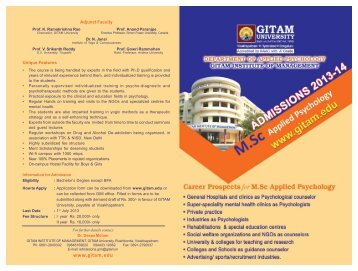 M.Sc. Applied Psychology Admissions - GITAM University