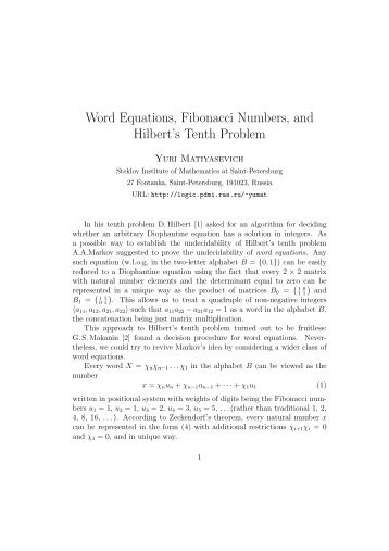 Word Equations, Fibonacci Numbers, and Hilbert's Tenth Problem