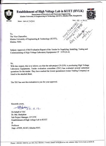 Khulna- 9203. Subject: Approval of Bid Evaluation Report of ... - KUET
