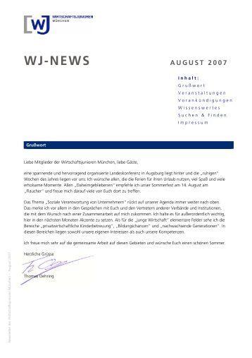 Newsletter der Wirtschaftsjunioren München - August 2007