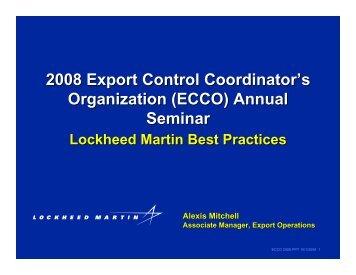 2008 Export Control Coordinator's Organization (ECCO) Annual ...