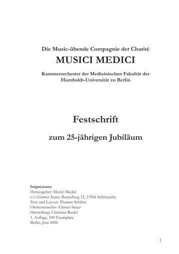 Festschrift zum 25-jährigen Jubiläum - Musici Medici