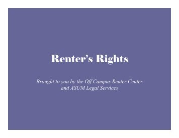Renter's Rights Renter s Rights