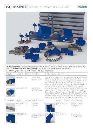 X-GRIP MINI XL Order number: 0050.2540 - Matrix GmbH