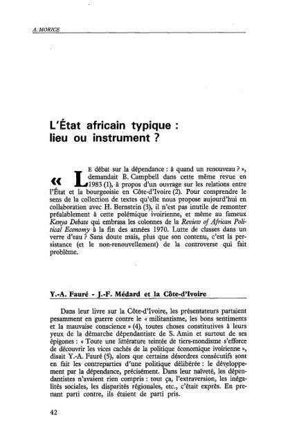 L'Etat africain typique : lieu ou instrument ? - Politique Africaine