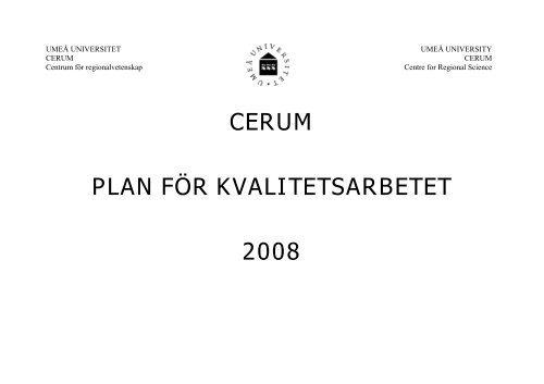 Plan för kvalitetsarbetet - Cerum - Umeå universitet