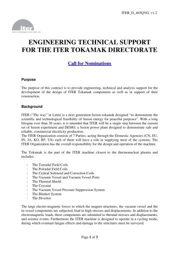 engineering technical support for the iter tokamak directorate