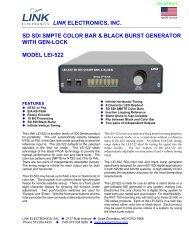 link electronics, inc. sd sdi smpte color bar & black burst generator ...