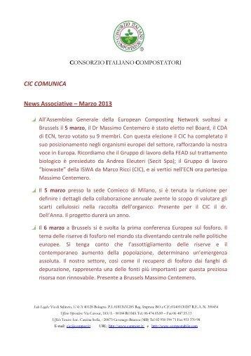 CIC COMUNICA Marzo 2013 - Consorzio Italiano Compostatori