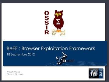 BeEF : Browser Exploitation Framework - OSSIR