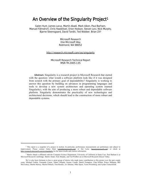 Technical Report - Microsoft Research
