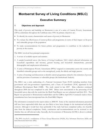 Montserrat Survey of Living Conditions (MSLC) Executive Summary