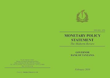 cover monetary policy - Bank of Tanzania