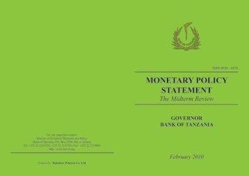 cover monetary policy - Bank of Tanzania