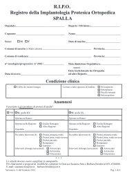 Scheda rilevazione dati spalla (versione n.3 gennaio 2012) - RIPO