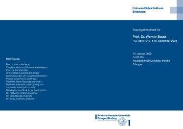 Prof. Dr. Werner Bautz - Universitätsklinikum Erlangen