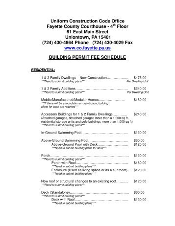 UCC Building Permit Fee Schedule - Fayette County