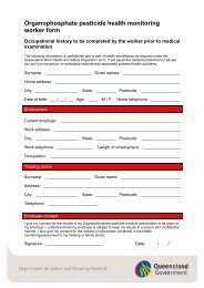 Organophosphate pesticide health monitoring forms - Queensland ...
