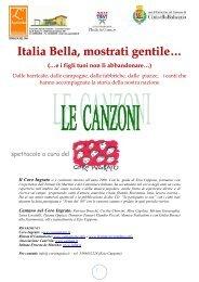 Italia bella le canzoni stampa - Comune di Cinisello Balsamo