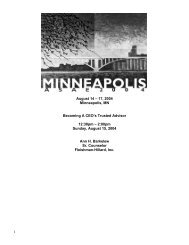 1 August 14 – 17, 2004 Minneapolis, MN Becoming A CEO's Trusted ...