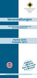 Veranstaltungen Herbst 2010 Frühjahr 2011 - Wiener Krebshilfe