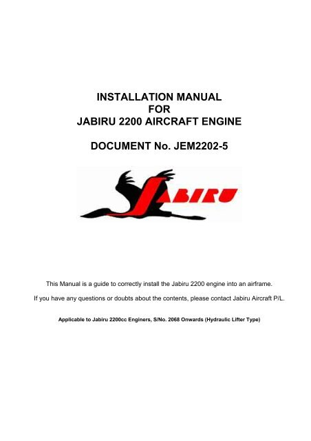 INSTALLATION MANUAL FOR JABIRU 2200 AIRCRAFT ENGINE