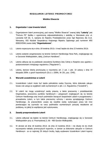 Regulamin loterii Wielkie Otwarcie CH Nova Park - Fortuna PS logo