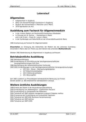 lebenslauf allgemeines allgemeinarztpraxis dr med werner j - Johannes Gutenberg Lebenslauf
