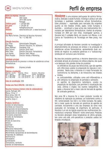 Perfil de empresa - Hovione