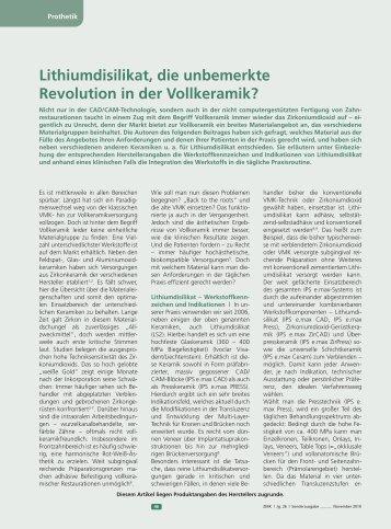 Lithiumdisilikat, die unbemerkte Revolution in der Vollkeramik ZMK