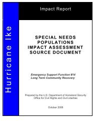 Special Needs Population Impact Assessment - Readiness and ...