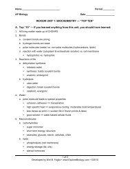 """REVIEW UNIT 1: BIOCHEMISTRY — """"TOP TEN"""" A ... - Explore Biology"""