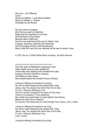 His Love…Our Offering Lyrics Words by William J ... - PraiseGathering