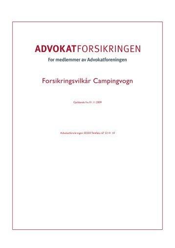 Forsikringsvilkår Campingvogn - Advokatforeningen