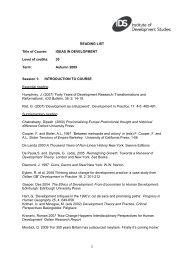 READING LIST Title of Course - Institute of Development Studies