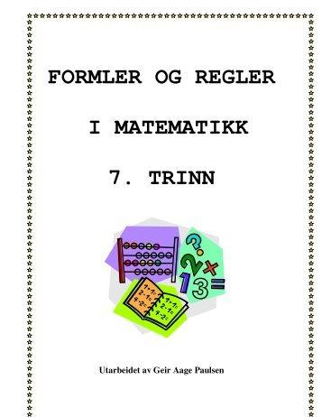 FORMLER OG REGLER I MATEMATIKK 7. TRINN - Linksidene