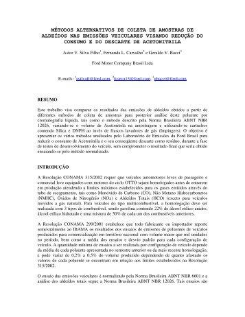métodos alternativos de coleta de amostras de aldeídos nas ...
