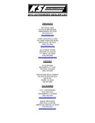 2012 AUTHORIZED DEALER LIST - KSE Racing Products
