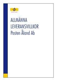 ALLMÄNNA LEVERANSVILLKOR Posten Åland Ab