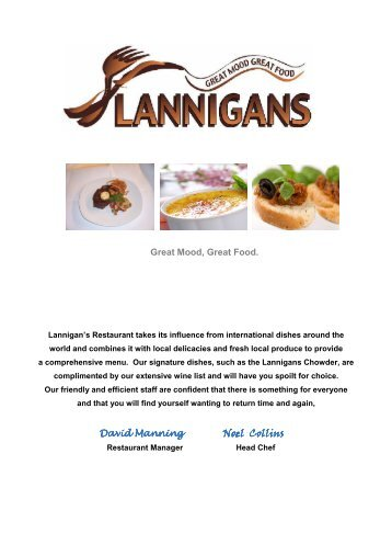 Lannigans Evening Menu 1109 - Quality Hotel and Leisure Centre