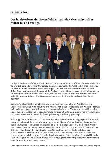 28. März 2011 Der Kreisverband der Freien Wähler hat seine ...