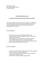ARCH Final Results - ARC Capital Holdings Ltd