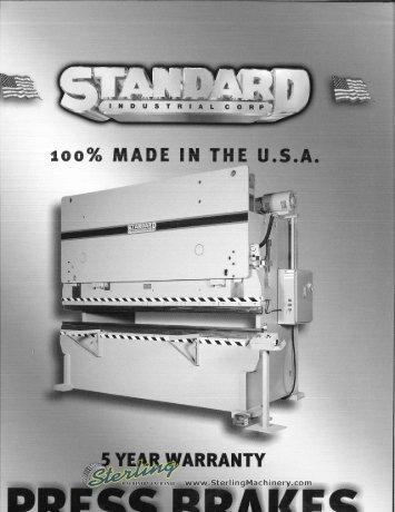 Standard Press Brakes Brochure - Sterling Machinery