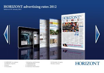 HORIZONT advertising rates 2012 - Isler Annoncen AG
