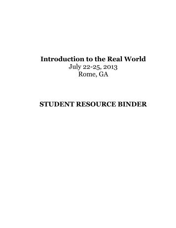 Intro to RW Binder - Foundation for Economic Education