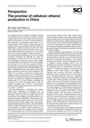 The promise of cellulosic ethanol production in China - CE-CERT