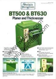 Wadkin BT 500 630 Thicknesser Literature