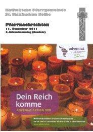 Pfarrnachrichten Pfarrnachrichten - St. Maximilian Kolbe