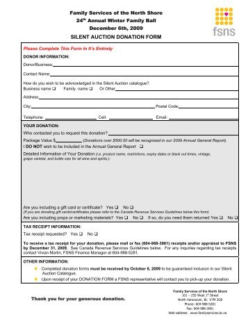 Auction item donation form - Regions Hospital