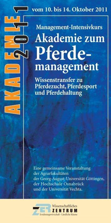 Management-Intensivkurs Akademie zum Pferde - Universität Vechta